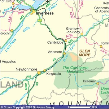 Map of the Cairngorm region