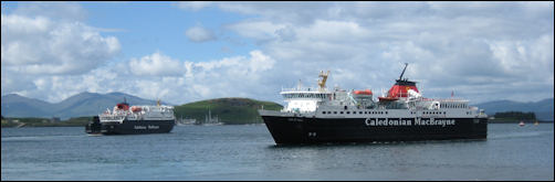 Calmac ferry from Mull arriving in Oban